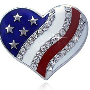 cocojewelry 4th of July American Flag Heart Star Stretch Resizable Band Cocktail Ring