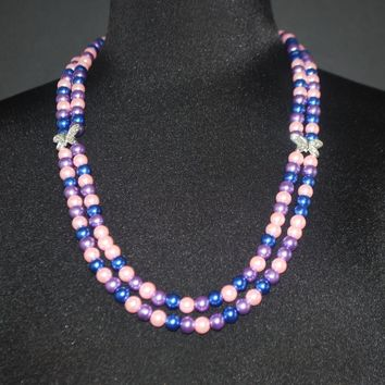 Three Colors Pink - Purple - and Blue with Silver Butterfly Ascent  Women's Double Strands Beaded Necklace