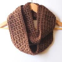 Crochet Infinity Scarf, Brown Crochet Chunky Cowl, Fall Women's Scarf, Winter Circle Scarf