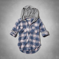 hooded button-down shirt
