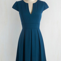 Vintage Inspired Mid-length Short Sleeves Fit & Flare Meet Me At the Punch Bowl Dress in Oceanside