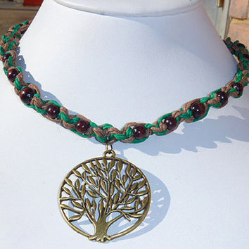 Celtic Green  Tree of Life Hemp Necklace wicca hippie NEW   St. Patrick's Day