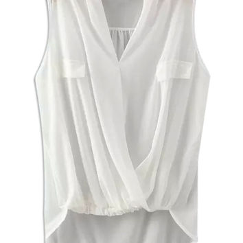 White V-neck Wrap Ruched Sleeveless Chiffon Blouse
