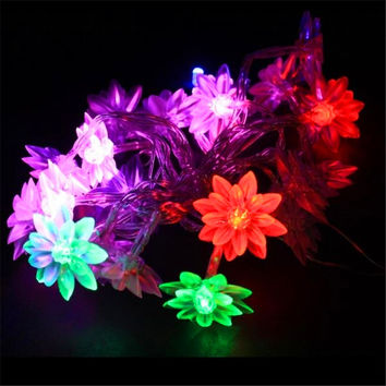 3m 30 Bulbs Battery LED string lights Christmas Lotus garland luminaria wedding decoration lamps holiday home indoor lighting