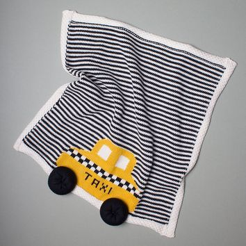 Organic Cotton Baby Gift Set With Taxi Blanket, Black Hat and Rattle