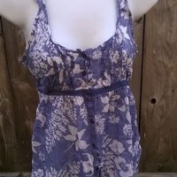 Hollister Babydoll Racer Back Tank Top 100% Cotton Blue/White Floral SMALL Shirt