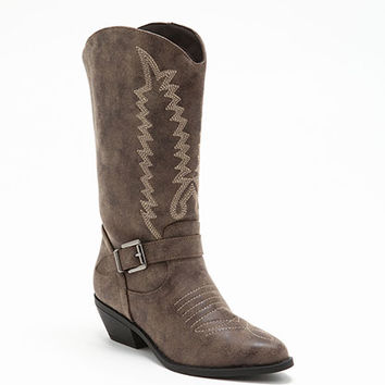 BROWN EMBROIDERED COWBOY BOOTS