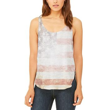 4th of July American Flag Star Spangled Banner Juniors Flowy Side Slit Tank Top