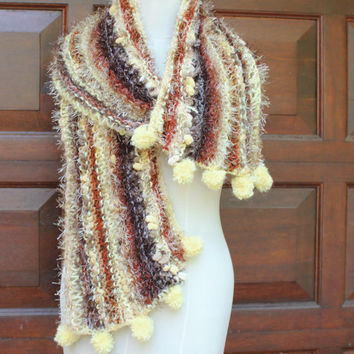 Long scarf , Winter Shawl , Hippie scarf , Warm soft scarf , Evening scarf , Hand knitted winter shawl , Out of Africa SCAWL- SAND DUNE.