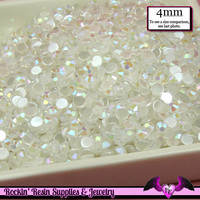 200 pcs 4mm AB JELLY WHITE Decoden Faceted Flatback Rhinestones