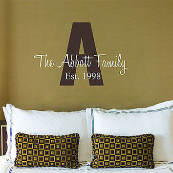 Family Initial and Established Date Personalized Family Vinyl Wall Decal Sticker