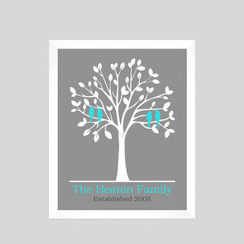 Family Tree Print, Anniversary Gift, Gift for Wife, Personalized Custom Love Birds, Wedding Art, Family Tree Decor, CUSTOMIZE YOUR COLORS