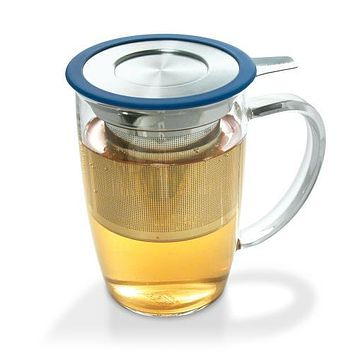 Glass Tea Cup with Stainless Steel Infuser (Strainer) & Lid