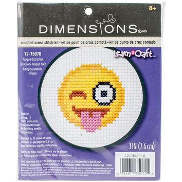 """3"""" 11 Count Learn-A-Craft Tongue Out Emoji Mini Counted Cross Stitch Kit"""
