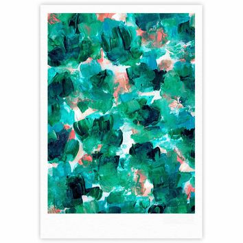 """Ebi Emporium """"Floral Spray 4"""" Red Floral Abstract Painting Mixed Media Fine Art Gallery Print"""