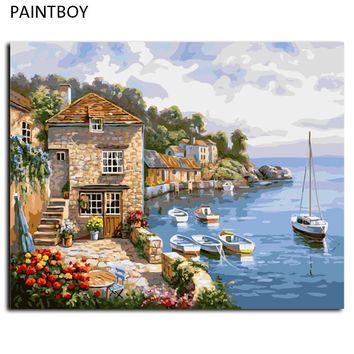 PAINTBOY Framed Seascape Paint  Wall DIY Painting By Numbers Digital Canvas Oil Painting Frameless Pictures Home Decor G296