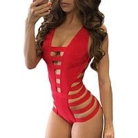 Red Strappy Cutout One Piece Bathing Suits
