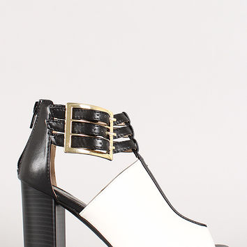Two-Tone Buckle Triple Strap Peep Toe Heel