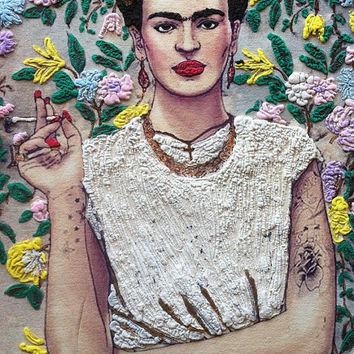 Frida Kahlo exclusive T-shirt  3D retro handmade painting cool  Made to Order floral multicolor men women also large size
