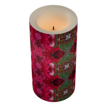 Christmas Colors Kaleidoscope Wrapped LED Candle
