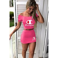 Champion tide brand female letter print sexy off-the-shoulder dress set two-piece pink