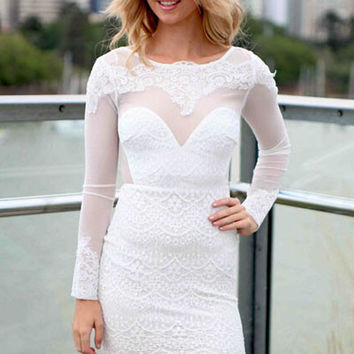 White Lace Backless Mini Dress in Long Sleeved