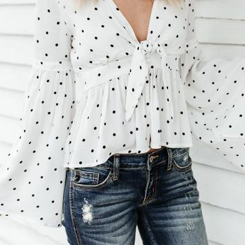 White Polka Dot Draped Bow Peplum Deep V-neck Flare Sleeve Casual Blouse