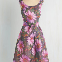Long Sleeveless Fit & Flare Down to a Fine Art Dress in Garden