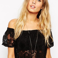 Black Off Shoulder Floral Lace Crop Top
