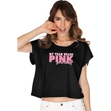 Ladies Breast Cancer T-shirt My Team Wears Pink Boxy Tee