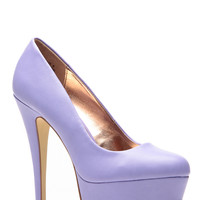 Anne Michelle Lavendar Almond Toe Pumps