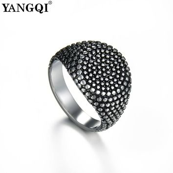 YANGQI Full Salient Point Stainless Steel Round Rings for Men Cool Punk Gothic Style Male Ring Party Club Style Lucky Jewelry