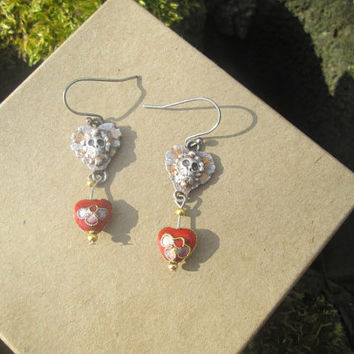 Sugar Skull / Day of  the Dead /  Cloisonne Hearts /  Recycled Silver Earrings
