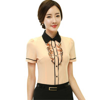 Summer short-sleeve office ladies Shirt 2016 OL elegant ruffle chiffon female blouse formal plus size tops yellow white rose