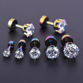 ac ICIKO2Q 5pcs 3-7mm Zircon Ear Piercing Unique Design Colorful Stainless Steel Twist Nose Lip Ring Nose Stud Body Piercing Jewelry Women