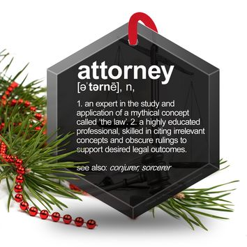 Attorney Definition Funny Glass Christmas Ornament