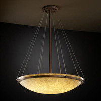 Justice Design Group CLD-9694-35-DBRZ-LED-6000 Clouds 36-Inch Round Bowl 6000 Lumen LED Pendant with Ring