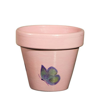 Hand Painted Flower Pot- 6 Inch Terracotta Pot Cute Butterfly ,Birthday,Housewarming Wedding, Christening Gift- Made to Order