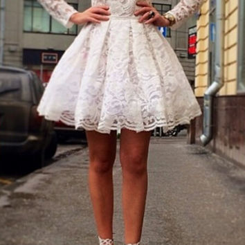 Long Sleeve Lace Homecoming Dresses ,White Sweetheart Homecoming Dress