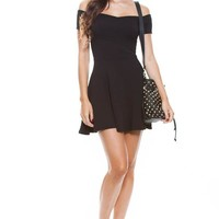 Off Shoulder V Neck Skater Dress - DRESSES - WOMEN - Foreign Exchange