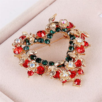Heart-shaped Inlaid Rhinestone Wreath Crystal Brooch Pin