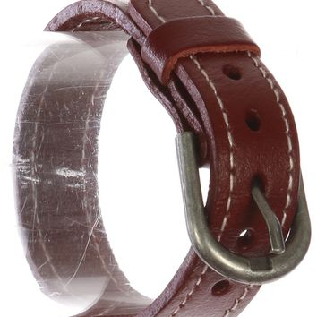 Burgundy Stitched Faux Leather Belt Bracelet