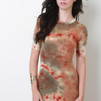Jersey Knit Tie Dye Short Sleeve Tee Dress