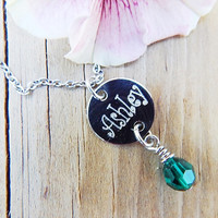 Engraved Name Necklace, Birthstone Necklace, Personalized Jewelry, Birthstone Jewelry, Gift for Mom, Best Friend Necklace