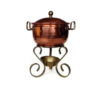 Hammered Copper Warmer, Sauce, Fondue Pot, Brass Candle Base