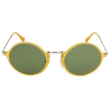 Persol PO3091SM 204/P1 Round Polarized Sunglasses | Honey Yellow Frame | Green Lens
