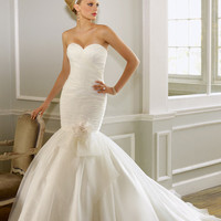 Mori Lee 2012 Bridal Ivory Strapless Organza Over Chantilly Lace Wedding Gown - Unique Vintage - Cocktail, Evening & Pinup Dresses