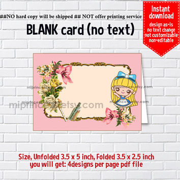 Instant Download, blank Card, Alice in wonderland #750, food tent Card, place card, 3.5x2.5inch printable , non-editable NOT CUSTOMIZABLE