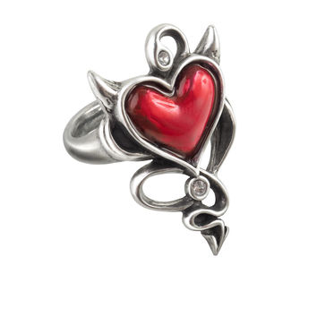 Alchemy Gothic Red Devil Heart Horns & Tail Ring