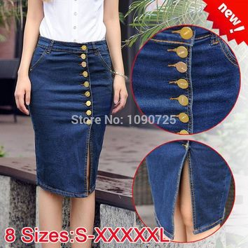 PEAPGB2 Brand Female Skirt Women Summer Plus Big size 5XL XXXXXL Ladies' Breasted Faldas High Waist Knee-length Denim Jeans Midi Skirts